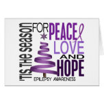 Peace Love Hope Christmas Holiday Epilepsy Greeting Card