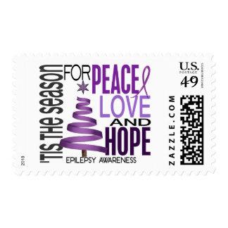 Peace Love Hope Christmas Holiday Epilepsy Postage
