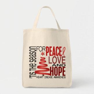 Peace Love Hope Christmas Holiday Heart Disease Tote Bag