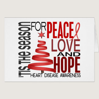 Peace Love Hope Christmas Holiday Heart Disease Card