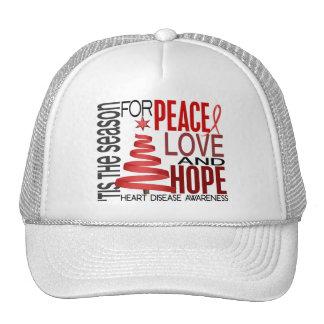 Peace Love Hope Christmas Holiday Heart Disease Trucker Hats