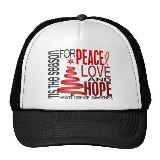 Peace Love Hope Christmas Holiday Heart Disease Mesh Hat