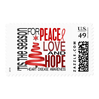 Peace Love Hope Christmas Holiday Heart Disease Postage Stamp