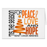 Peace Love Hope Christmas Holiday Kidney Cancer Greeting Card
