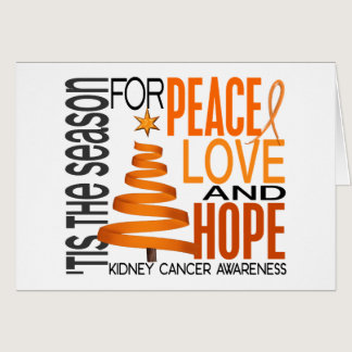 Peace Love Hope Christmas Holiday Kidney Cancer Card