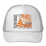 Peace Love Hope Christmas Holiday Kidney Cancer Trucker Hat