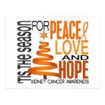 Peace Love Hope Christmas Holiday Kidney Cancer Postcard