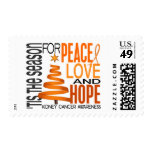 Peace Love Hope Christmas Holiday Kidney Cancer Stamps