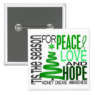 Peace Love Hope Christmas Holiday Kidney Disease Button