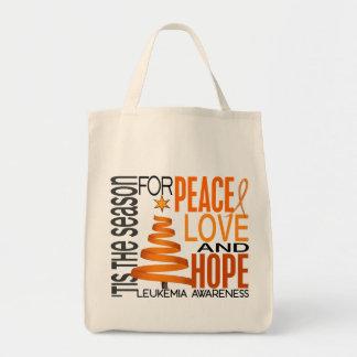 Peace Love Hope Christmas Holiday Leukemia Canvas Bags