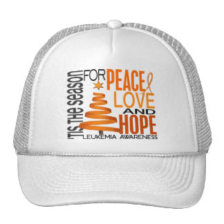 Peace Love Hope Christmas Holiday Leukemia Hat