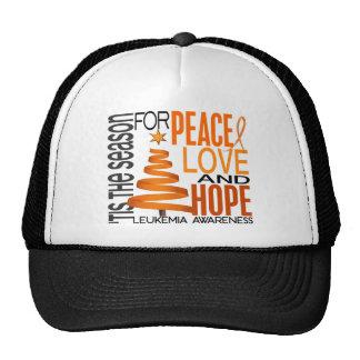 Peace Love Hope Christmas Holiday Leukemia Hats