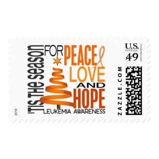 Peace Love Hope Christmas Holiday Leukemia Postage