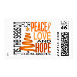 Peace Love Hope Christmas Holiday Leukemia Postage Stamps