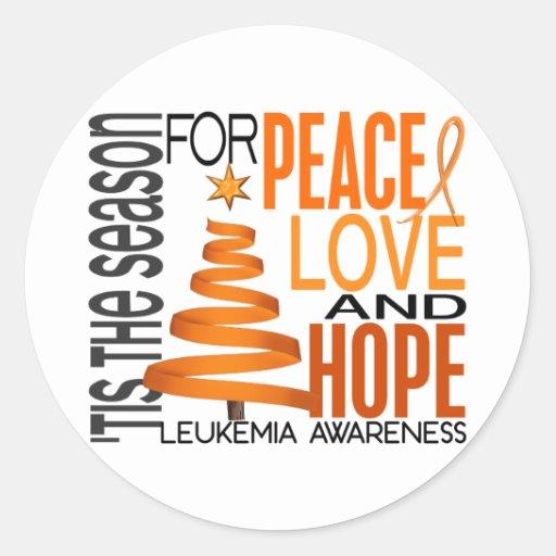 Peace Love Hope Christmas Holiday Leukemia Sticker
