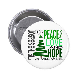 Peace Love Hope Christmas Holiday Liver Cancer Pinback Button