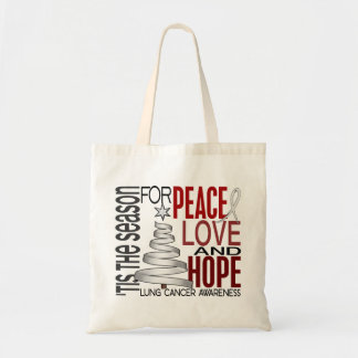 Peace Love Hope Christmas Holiday Lung Cancer Bags