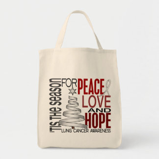 Peace Love Hope Christmas Holiday Lung Cancer Tote Bag