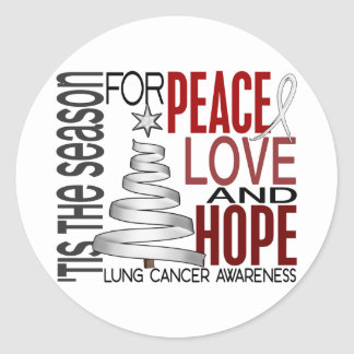Peace Love Hope Christmas Holiday Lung Cancer Classic Round Sticker