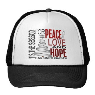 Peace Love Hope Christmas Holiday Lung Cancer Hats