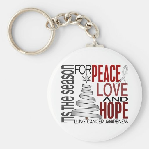 Peace Love Hope Christmas Holiday Lung Cancer Key Chains