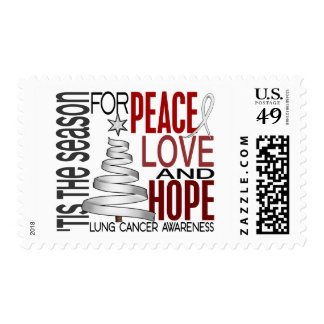 Peace Love Hope Christmas Holiday Lung Cancer Postage