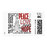 Peace Love Hope Christmas Holiday Lung Cancer Stamps