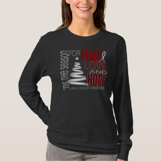 Peace Love Hope Christmas Holiday Lung Cancer T-Shirt