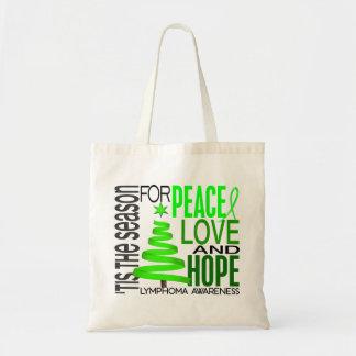 Peace Love Hope Christmas Holiday Lymphoma Tote Bags