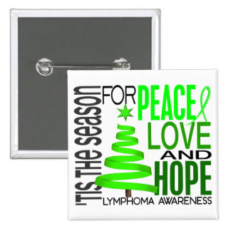 Peace Love Hope Christmas Holiday Lymphoma Buttons