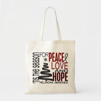 Peace Love Hope Christmas Holiday Melanoma Tote Bag