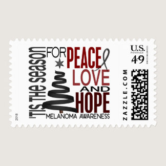 Peace Love Hope Christmas Holiday Melanoma Postage