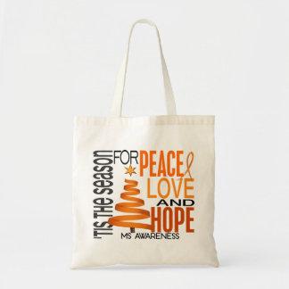 Peace Love Hope Christmas Holiday MS Tote Bag