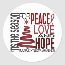 Peace Love Hope Christmas Holiday Multiple Myeloma Classic Round Sticker