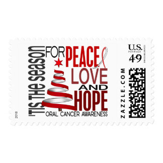 Peace Love Hope Christmas Holiday Oral Cancer Postage Stamps