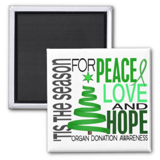 Peace Love Hope Christmas Holiday Organ Donation 2 Inch Square Magnet