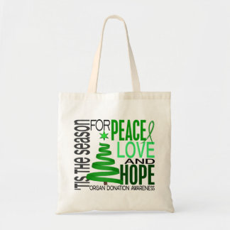 Peace Love Hope Christmas Holiday Organ Donation Canvas Bag