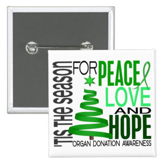 Peace Love Hope Christmas Holiday Organ Donation Pinback Buttons