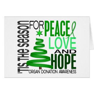 Peace Love Hope Christmas Holiday Organ Donation Card