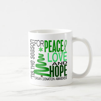 Peace Love Hope Christmas Holiday Organ Donation Coffee Mug