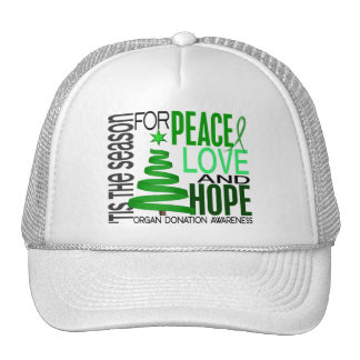 Peace Love Hope Christmas Holiday Organ Donation Trucker Hats