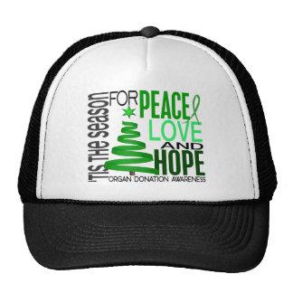 Peace Love Hope Christmas Holiday Organ Donation Trucker Hat