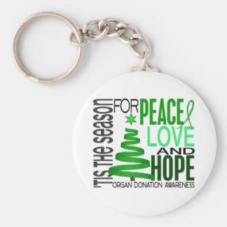 Peace Love Hope Christmas Holiday Organ Donation Keychains