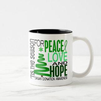 Peace Love Hope Christmas Holiday Organ Donation Coffee Mugs