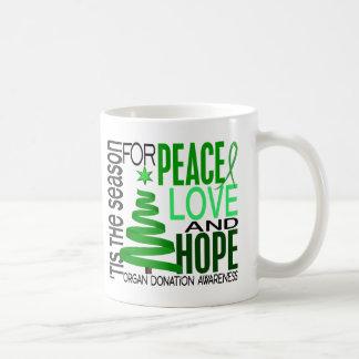 Peace Love Hope Christmas Holiday Organ Donation Coffee Mug