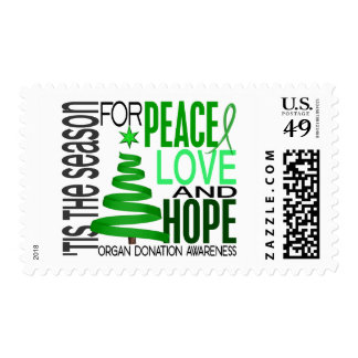 Peace Love Hope Christmas Holiday Organ Donation Postage