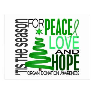 Peace Love Hope Christmas Holiday Organ Donation Post Cards