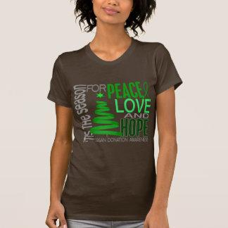 Peace Love Hope Christmas Holiday Organ Donation Tee Shirts