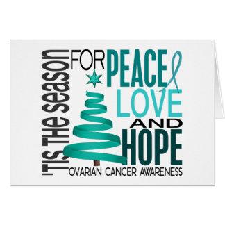 Peace Love Hope Christmas Holiday Ovarian Cancer Card