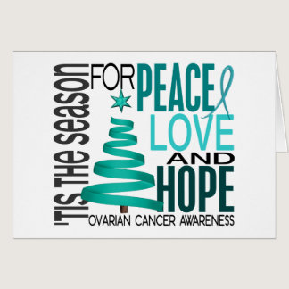 Peace Love Hope Christmas Holiday Ovarian Cancer Card